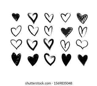 Set of grungy hand drawn hearts. Hand painted in the shape of a heart. Black linear silhouette clip art symbol of love, Valentine s day, wedding cards, date. Vector illustration on a white background.