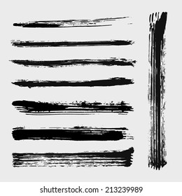 Set of grungy vector mascara brushes