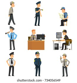 set of guards in different poses. people in uniform are engaged in protection. vector illustration.