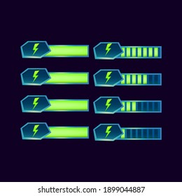 set of gui fantasy glossy energy stamina progress bar for game ui asset elements vector illustration