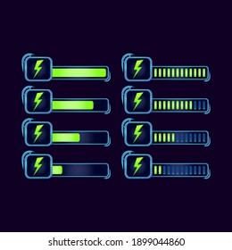 set of gui fantasy rpg energy stamina progress bar for game ui asset elements vector illustration