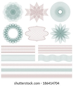 Set of Guilloche decorative elements. Vector illustration.