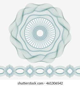 Set: Guilloche Pattern Rosette and border for certificate or diploma, isolated. Vector illustration