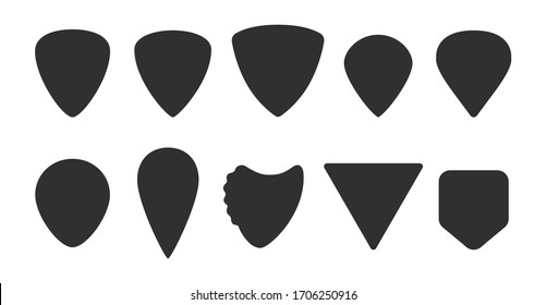 Set of guitar picks. Different types of plectrums: standard, triangle, pointy, teardrop, shark fin, jazz III. Mediator silhouette. Isolated vector illustrations on white background, EPS 10.