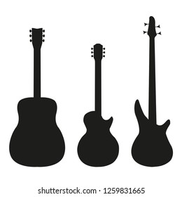 Set guitar in silhouette style on a white background, vector