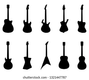 Set of Guitar Silhouettes, Electric Guitars, Acoustic Guitars, Jazz Guitar, Rock Guitar, Musical Instrument - Vector