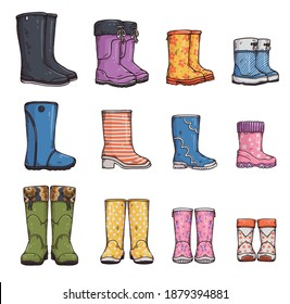 Set of gumboots or garden wellies, sketch cartoon vector illustration isolated on white background. Engraved hand drawn style collection of rubber boots.