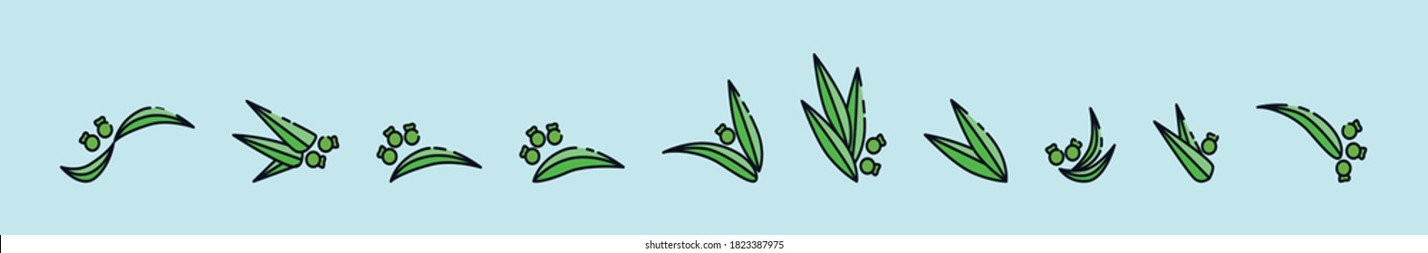 set of gumnuts and leaves natural cartoon icon design template with various models. vector illustration isolated on blue background