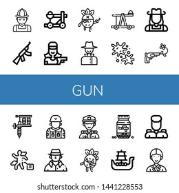 Set of gun icons such as Hunter, Assault rifle, Catapult, Shooter, Pirate, Detective, Paintball, Cowgirl, Gun, Tattoo machine, Crime scene, Soldier, Police, Zombie, Ammo , gun