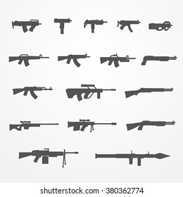 Set of gun and weapon icons, silhouette style, gun, machine gun, shotgun and rifle, gun stock vector image