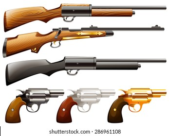 Set of guns and rifels on a white background
