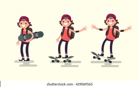 Set guy riding on a skateboard. Vector illustration of a flat design