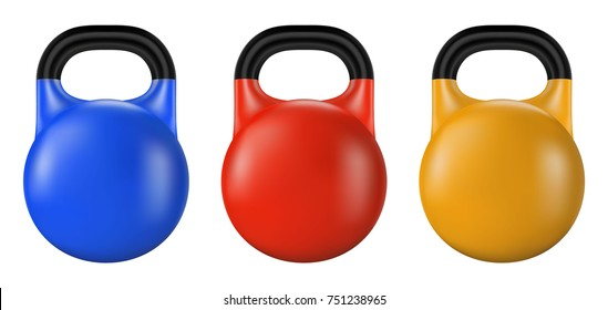 Set of gym kettlebell isolated. Realistic vector illustration of fitness equipment