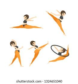 Set of Gymnastics vector cartoon illustration