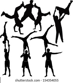 set gymnasts acrobats vector black silhouette