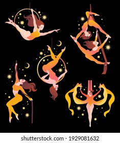 Set with gymnasts on aerial silks, on a ring, on a rope. Simple vector color illustration on a dark background with stars.