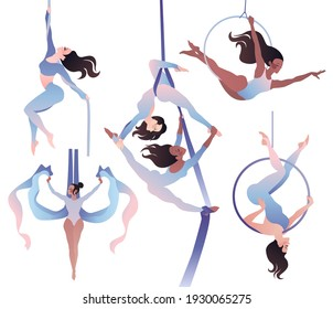 Set with gymnasts on aerial silks, on a ring, on a rope. Simple vector color illustration isolated on white background.