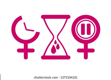Set of gynecology icon in pink color. Concept of menstruation period, pregnancy or menopause. Vector illustration in flat style