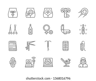 Set of Gynecology and Obstetrics Line Icons. Thermometer, Pregnancy Test, Menstrual Calendar, Intrauterine Device, Oral Contraceptives, Female Tampon, Gynecologist and more. Pack of 48x48 Pixel Icons