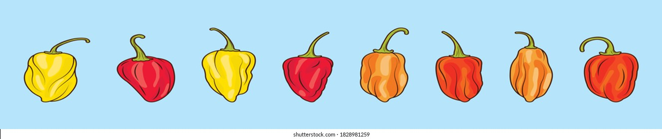 set of habanero chili peppers cartoon icon design template with various models. vector illustration isolated on blue background
