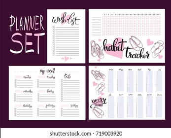 set: habit tracker, wish list,weekly and year planner