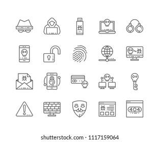 Set von Hacker-Skizzen einzeln auf weißem Hintergrund. Bearbeitbarer Stroke. 64x64 Pixel perfekt.