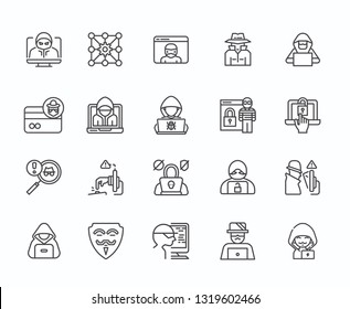 Set of hacker Related Vector Line Icons. Includes such Icons as hacking, law, punishment, password, protection, anonymity, computer, Internet, server, search, protocols, firewall