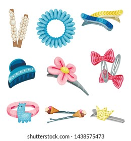 Set of hair clips and hair ties. Vector illustration on white background.