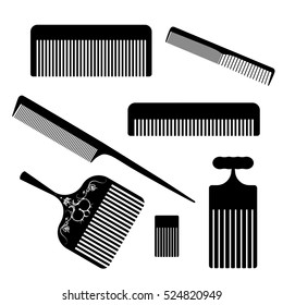 Set of hair comb icons. Vector Illustration