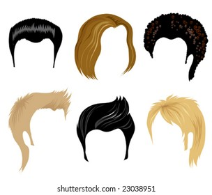 Set of hair style samples for man