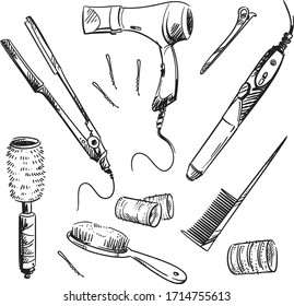 Set of hair styling tools, vector sketch