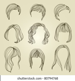 """Set of hair styling for woman (from my big """"Hair styling series"""")"""