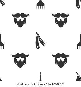 Set Hairbrush, Straight razor and Mustache and beard on seamless pattern. Vector