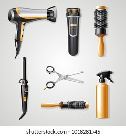 Set of hairdresser tools realistic 3d icons  curling iron hairdryer and hair clipper vector illustration