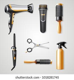 ヘアドレッサーツールのリアルな3Dアイコン(鉄製のヘアドライヤーとヘアクリッパーベクターイラスト)