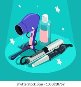 Set of hairdressing styling equipment Hair dryer, curler