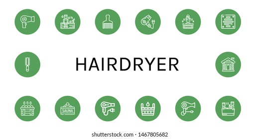 Set of hairdryer icons such as Hair dryer, Sauna, Hair brush, Extractor , hairdryer