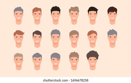 Set of Hairstyle man, Hair style set for barber and hair cut logo and men portrait modern fashion long hair, short hair, curly salon hairstyles, vector hairstyle silhouette, vector set isolate