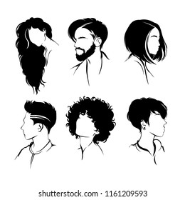 Set of hairstyles. Collection of black silhouettes of hairstyles.