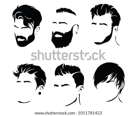 set hairstyles men collection black silhouettes stock vector