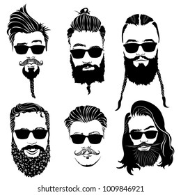 fde5f5389da3 Set of hairstyles for men in glasses. Collection of black silhouettes of  hairstyles and beards