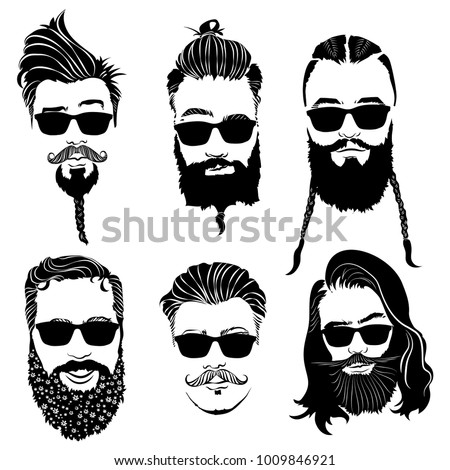 Set Hairstyles Men Glasses Collection Black Stock Vector (Royalty ...