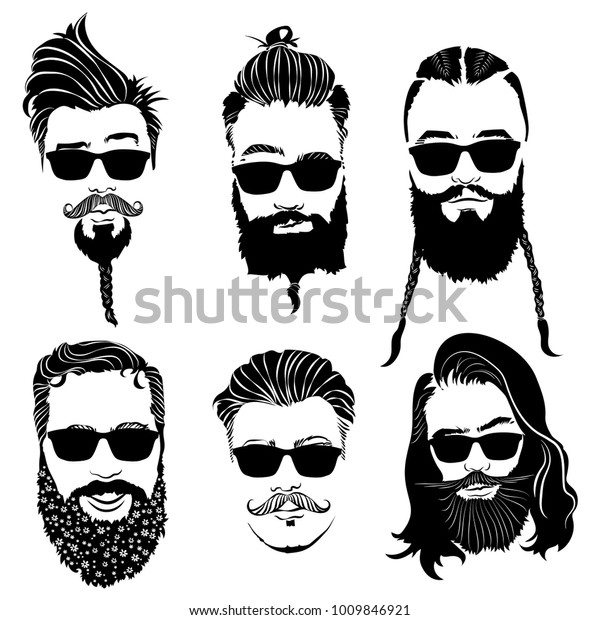 Set Hairstyles Men Glasses Collection Black Stock Vector ...