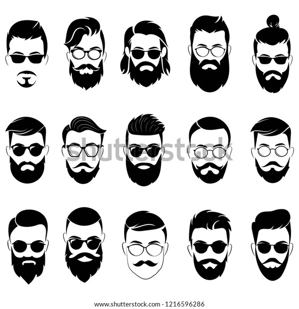 Set Hairstyles Men Glasses Collection Black Stock Vector Royalty Free 1216596286