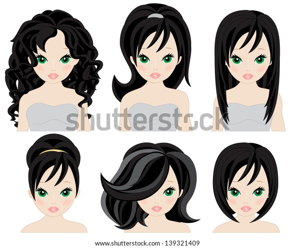 set of hairstyles for short and long black hair