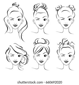 A set of hairstyles, a sketch. Fashionable hairstyles for long hair, bun. Vector illustration.