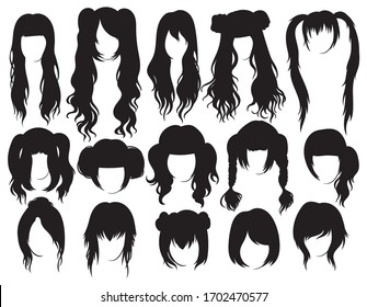 Set of hairstyles for woman. Collection of black silhouettes of hairstyles for girls. Vector illustration on white background.