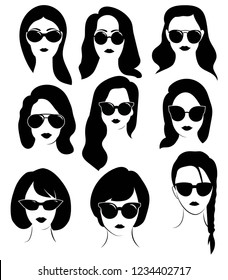 Set of hairstyles for women with glasses. Collection of silhouettes of hairstyles for girls for a hairdresser.