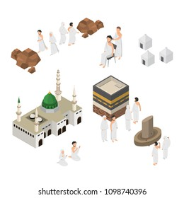 Set of Hajj Illustration, Pilgrimage in Mecca, Infographic on Flat Isometric Vector