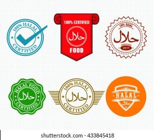 Set of Halal Label, Halal Tag Design